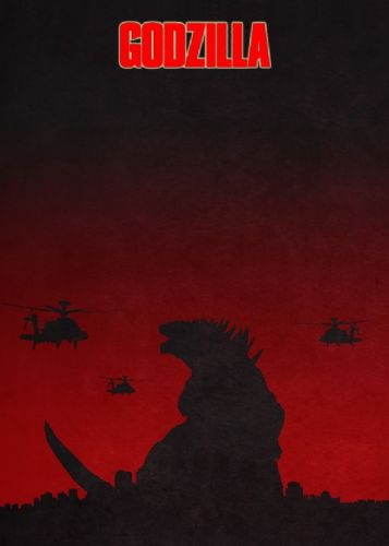 2010's Movie - GODZILLA RED LOGO GLOW canvas print - self adhesive poster - photo print